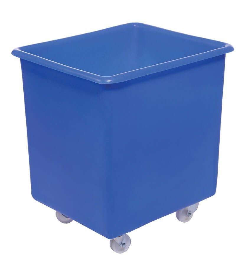 blue plastic box with wheels