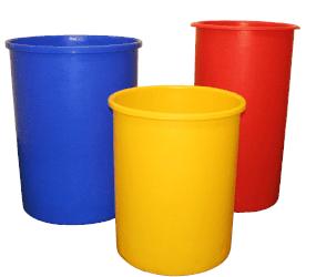 three plastic bins